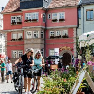 Radfahrer auf dem Marktplatz in Eisenach, Pflanzenmarkt