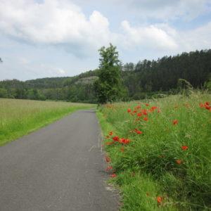Unterwegs auf dem Werratal-Radweg bei Leutersdorf