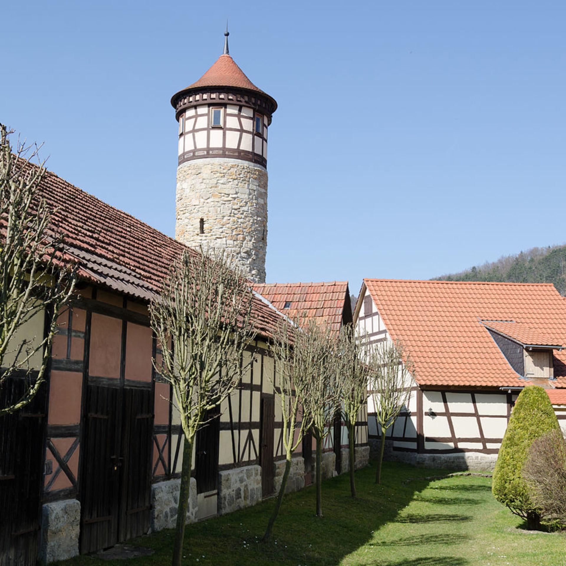 Kirchenburganlage mit Hutturm in Vachdorf